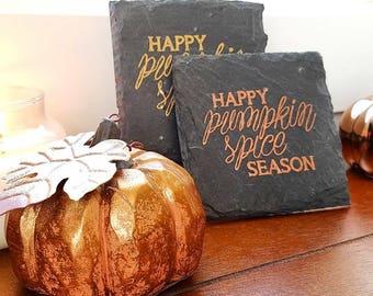 Happy Pumpkin Spice Season Slate Plaque / Coaster - Coffee, Pumpkin Spice Latte, Fall, Autumn, Decor