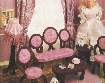 Victorian Fashion Doll Parlor Set Plastic Canvas Pattern Book, Doll  Furniture, Chair, Settee