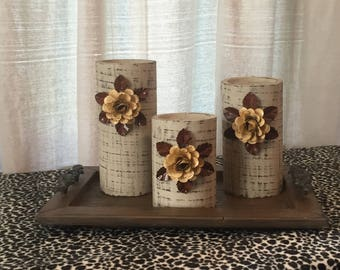 Wooden Candleholders (set of 3)  Khaki with Cream Flowers