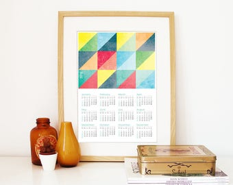 Calendar 2018 triangles grunge textures color retro Poster Print Calendar bright pastel colors 2018 Calendar triangles geometric wall art