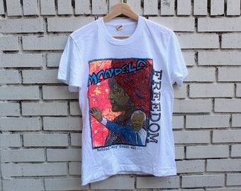 "Deadstock MANDELA ""Freedom"" Shirt Screen Stars tag Made in U.S.A. Vintage South Africa Apartheid Vtg Nelson Mandela Medium, Large, X-Large"