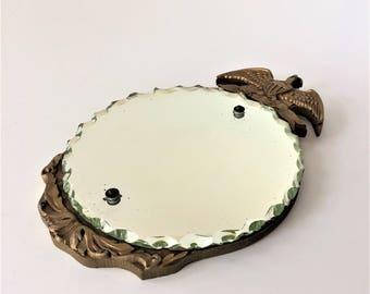 Federal Style Mirror, 1920s Marshall Field Mirror, Round Piecrust Scallop Edge Mirror, Small Plaster on Wood Mirror, Eagle Mirror