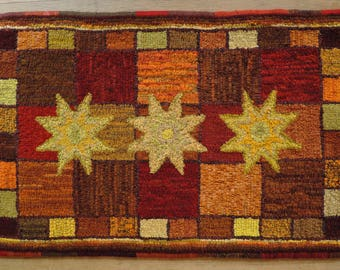 """Hand Hooked Wool Rag Rug - Harvest Stars 24"""" x 37"""""""