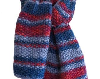 Hand Knit Scarf - Blue Navy Red Stripe Wool