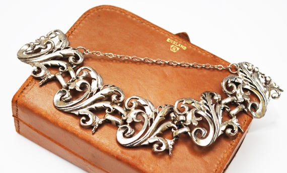 Sterling Panel link bracelet - floral flower  - Open work silver   - Art Nouveau style - 1 inch  wide bracelet