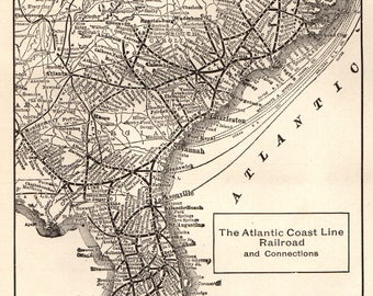 1914 Antique ATLANTIC COAST Line RAILROAD Map Black and White Gallery Wall Art 1900s Railway Map Gift for Railroad Enthusiast 5112