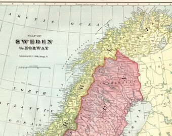 Antique SWEDEN and NORWAY Map 1901 Vintage Travel Gallery Wall Home Decor Map Collector Gift for Traveler Wedding Birthday 5987
