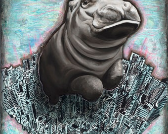 "Fiona in the City, 11"" x 14"" Signed Art Print,  Hippo Art, Fine Art Giclees from Original Paintings"