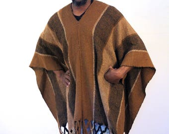 70s Mexican Poncho, Vintage Poncho, Mens Fringed Poncho, Brown Wool Poncho, Southwest Poncho, Mid Weight Poncho, One Size Fits Most