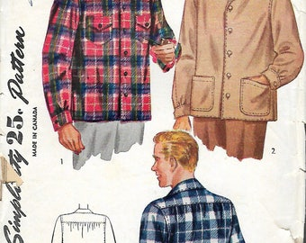 "Vintage 1943 Simplicity 1961 WWII Men's Shirt  in 3 Styles Wartime Sewing Pattern Size Small Chest 34""-36"""