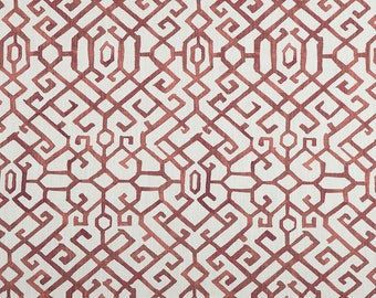 1 yard Jing Scarlet Slub Canvas  Premier Prints Chinoiserie Collection - Deep Red White - Home Decor