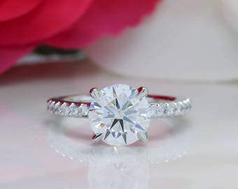 2 Carat Forever One Moissanite Engagement Ring Thin Diamond Band
