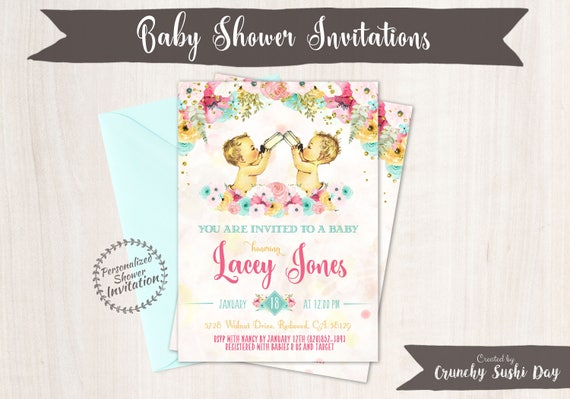 Twin Boys, Vintage Baby Boy Baby Shower Invitations, Baby Shower Invitation, Printable Invitations, Baby Boy, Teal, Pink, Floral 001