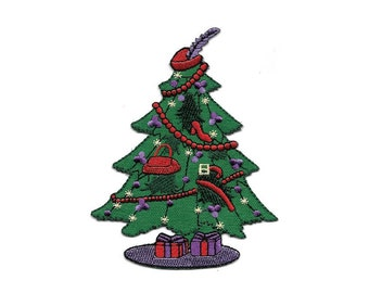 Christmas Tree - Red Hat Society - Fashion - Embroidered Iron On Applique Patch