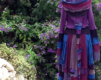 Recycled sweater cardigan coat. Purples, blue, black