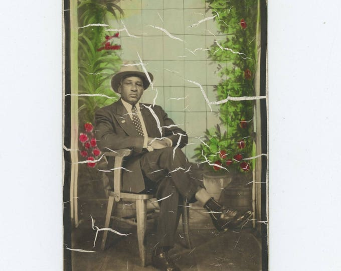 Vintage Enlarged & Tinted Arcade Photo Booth: African American Man, c1940s  (712631)