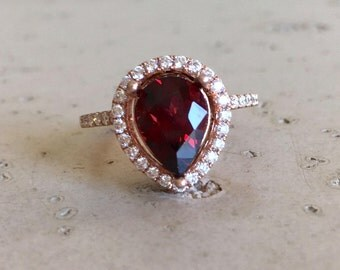 Garnet Engagement Ring Halo Red Gemstone Engagement Ring Handmade Tear Drop Rose Gold Garnet January Birthstone Ring