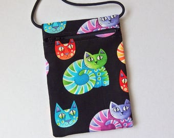 "Pouch Zip Bag Bright CAT Fabric - great for walkers, markets, travel.  Cell phone pouch. Small fabric purse. rainbow cats bag 6.5"" x 4.5"""