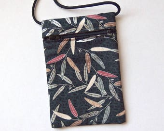 """Pouch Zip Bag SILVER LEAVES Fabric. Great for walkers, markets, travel. Cell Phone Pouch. Evening Purse. Silver accents.  6.75x4.5"""""""