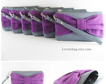 SUPER SALE - Set of 5 Bridesmaids Clutches, Wedding Clutches / Gray with Eggplant Purple Bow Clutches - Made To Order