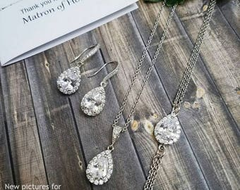 Bridesmaid Jewelry Set, Simple Bridal Jewelry Set, Bridesmaid Earrings Crystal, Bridesmaid Jewelry Crystal, Bridesmaid Gift, Bridal Jewelry