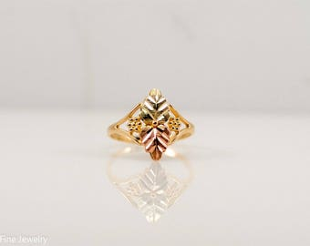Black Hills Gold Ring 10k Rose Yellow Green Leaves Nature Wide Delicate Mom Gift Idea