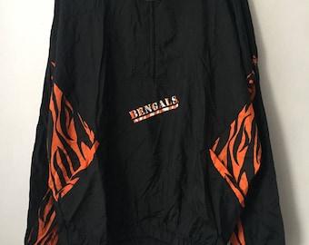 vintage cincinnati bengals apex one windbreaker jacket mens size XL deadstock NWT 90s