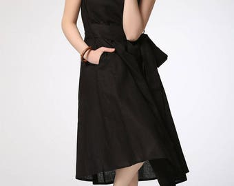 Black linen dress, midi dress, womens dresses, summer dress, elegant dress, loose dress, maxi dress, casual dress, sleeveless dress C422
