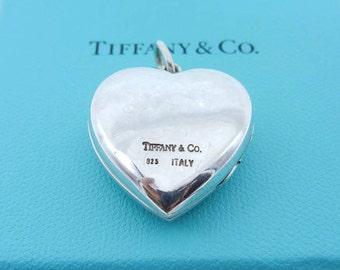 Authentic Tiffany & Co Large Heart Locket - Sterling Silver Puffed Heart Pendant - Tiffany Heart - Love - Sweetheart - Designer # 4454