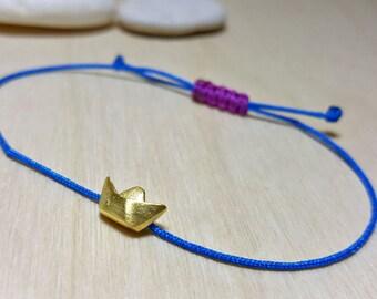 Layering Bracelet, Dainty Bracelet, Sterling Silver Dainty Bracelet, Stacking Bracelet Simple, Silver Charm Bracelet, Paper Boat