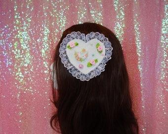 Kawaii Larme Kei Dove Garden Lolita Two Way Brooch and Hair Piece