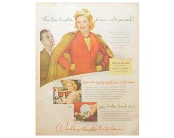 Woodbury Beauty Cream Ad - 1940's Magazine Advertising for Bathroom Decor