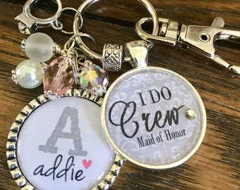 I DO crew, personalized bridal party gifts, bachelorette party favors, bridesmaid, keychain, wedding jewelry, maid of honor, flower girl