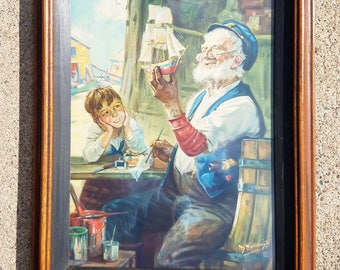 Vintage Hy Hintermeister Lithograph Print Grandpa with Billy Painting a Toy Sailboat, Calendar Art Print