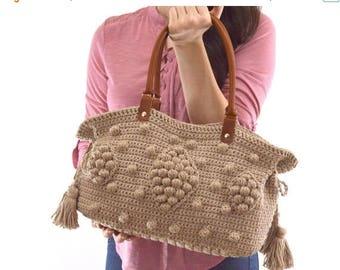 SALE Gerard Darel Dublin 24 Hour Inspired Crochet Handbag with Genuine Leather Handles, Crochet Bag, Summer Bag, Boho Style Bag