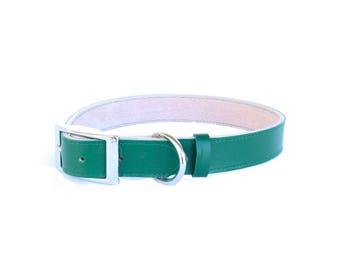 Dog Collar - Leather - Christmas Green