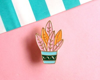 Cactus Plant Pin enamel pin badge - Lapel Pin Brooch 80s style Succulent