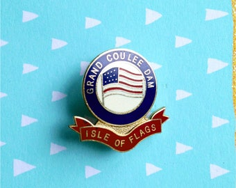 Vintage enamel pin Grand Coulee Dam pin Isle of Flags