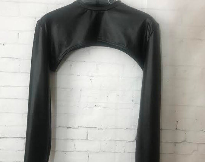 Faux Leather Men's  Snug-fitting Arm Long Sleeves Open Front Shrug/Harness