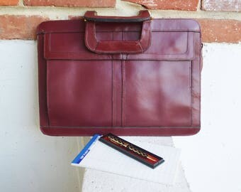 Burgundy Leather Portfolio/Briefcase with Strap/Business/School