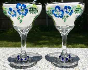 Margarita Glasses Hand Painted Blue Flowers Set of 2-12 oz, Retirement Gift, Anniversary Gift, Birthday Gift, Mexican Wedding Gift