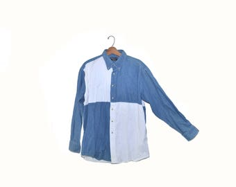 Vintage Denim Shirt Men's Denim Shirt Color block Shirt Men's 80s Shirt Size Large