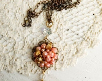 Upcycled vintage assemblage necklace / statement necklace / recycled jewelry / assemblage jewelry / locket necklace / reloved jewelry