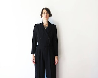 80s vintage jumpsuit pantsuit romper// black tuxedo styles tailored excellence// small medium
