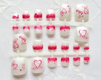 Pink Love - Fake Toenails, Fake Nails, Toenails, Toe Nails, Nails, Acrylic, False, Press on, Toes, Pink, Heart, Pedicure