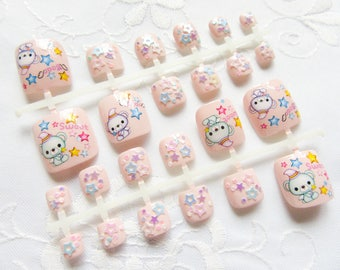Kawaii Bear Fake Toenails, Fake Nails, Toenails, Toe Nails, Nails, Acrylic, False, Press on, Toes, Pink, Kawaii, Pedicure