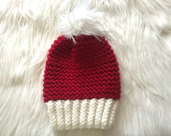 Knitted women Christmas hat with fur pompom Ready For Shipping!