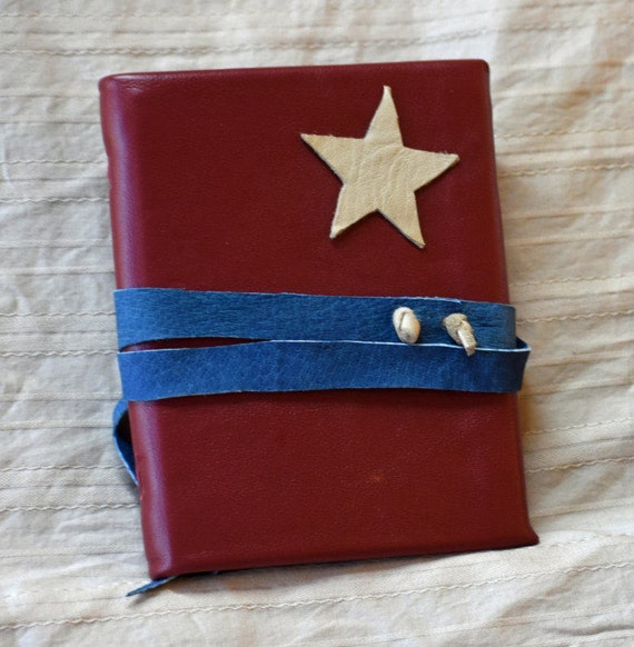 Red, white, & blue Star Leather Journal
