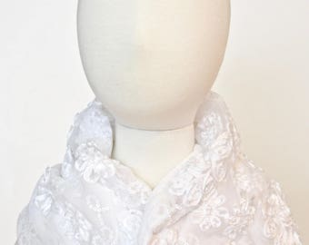 White Beaded Special Occasion (Weddings, Baptism, Holidays, 1st Birthdays) Bib, Shawl, Wrap, SCABIB for babies or toddlers