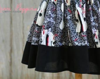 Lil Cruella strappy sundress, Twirly 101 Dalmatian Inspired, Dress Up, Every Day Play Wear, Handmade,Dalmatian birthday
